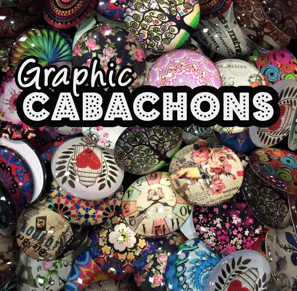 Graphic Glass Cabachons from Jesse James Beads - Psychedelic Patterns, Art Nouveau, Mandala and More