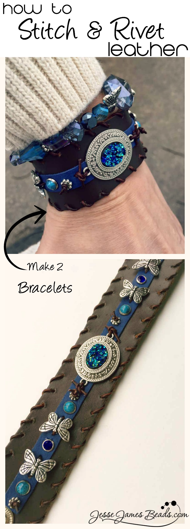 How to make leather jewelry - how to stich leather - how to rivet leather - New Bead Fest class by Jesse James Beads and Candie Cooper