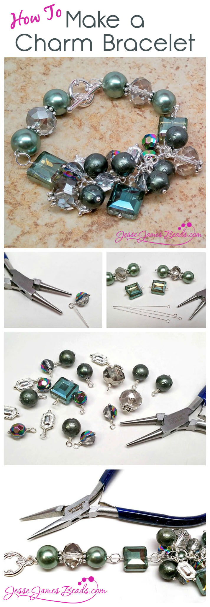 How to Make a Charm Bracelet with Sage Green Beads from Jesse James Beads